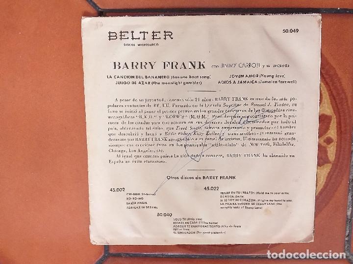 Discos de vinilo: BARRY FRANK CON JIMMY CARROLL Y SU ORQUESTA. EP - Foto 2 - 180191393