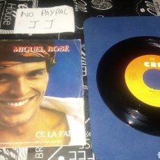 Discos de vinilo: MIGUEL BOSE ITALIA ITALIANO CE LA FAI YOU CANT STAY THE NIGHT PORTADA ALGUNA ARRUGA. Lote 180270571