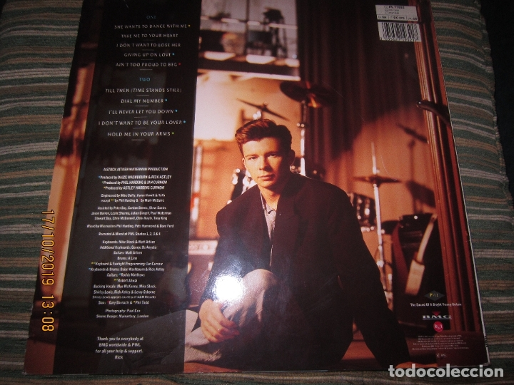 Discos de vinilo: RICK ASTLEY - HOLD ME IN YOUR ARMS LP`- ORIGINAL ALEMAN - RCA 1988 MUY NUEVO CON FUNDA INT. ORIGINAL - Foto 2 - 180275443