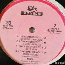 Discos de vinilo: MIKKI - DANCE LOVER / LOVE EMERGENCY - 1987. Lote 180282598