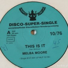 Discos de vinilo: MELBA MOORE - THIS IS IT - 1986. Lote 180284291
