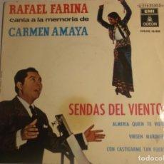 Discos de vinilo: RAFAEL FARINA CANTA A LA MEMORIA DE REMEDIOS AMAYA. Lote 180289192