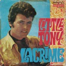 Discos de vinilo: LITTLE TONY - LACRIME / STASERA MI PENTO (SINGLE ESPAÑOL, DURIUM 1968). Lote 180325123