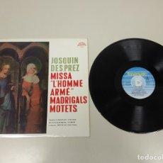Discos de vinilo: JJ10- JOSQUIN DESPREZ MISSA MOTETS ESP 1985 VIN POR VG + DIS VG ++. Lote 180404168