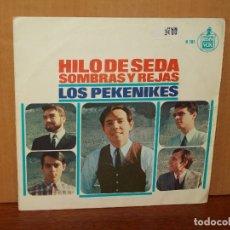 Discos de vinilo: LOS PEKENIKES - HILO DE SEDA - SOMBRAS Y REJAS - SINGLE . Lote 180406198