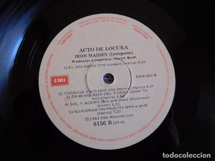 Discos de vinilo: Iron Maiden LP Piece of mind edición Argentina 1983 Acto de locura - Foto 3 - 180407343
