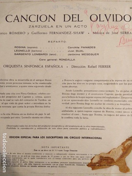 Discos de vinilo: La canción del olvido - Zarzuela LP - Foto 2 - 180472801