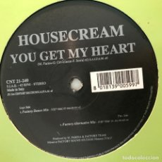 Discos de vinilo: HOUSECREAM - YOU GET MY HEART - 12'' MAXISINGLE 21ST CENTRUY 1999. Lote 180476045