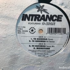 Discos de vinilo: INTRANCE FEATURING D-SIGN - TE QUIERRO - 12'' MAXISINGLE RADIKAL 1993. Lote 180477321