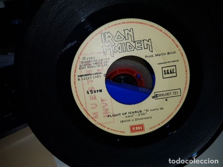 IRON MAIDEN RARO SINGLE ESPAÑOL CON SELLO MUESTRA INVENDIBLE SIN PORTADA COLECCIONISTAS (Música - Discos - Singles Vinilo - Heavy - Metal)