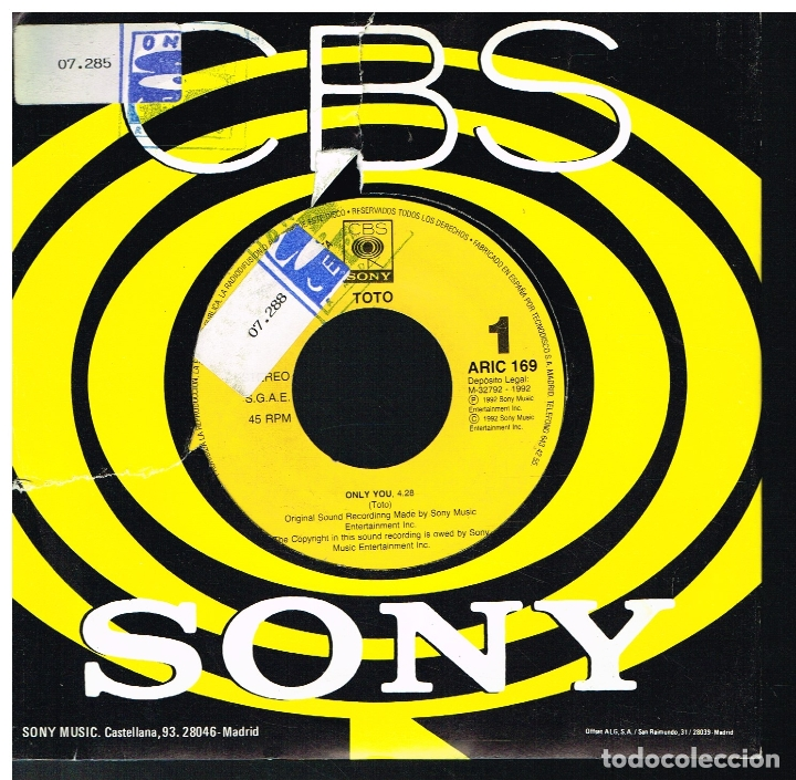 TOTO - ONLY YOU - SINGLE 1992 - PROMO (Música - Discos - Singles Vinilo - Pop - Rock Extranjero de los 90 a la actualidad)