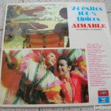 Discos de vinilo: LP 24 EXITOS 100 X 100 TIPICOS ,AIMABLE SU ACORDEON Y SU ORQUESTA AÑO 1973. Lote 180601392