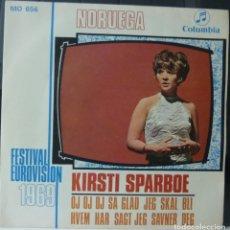 Discos de vinilo: KIRSTI SPARBOE // FESTIVAL EUROVISION 1969 // 1969 // SINGLE. Lote 180838248