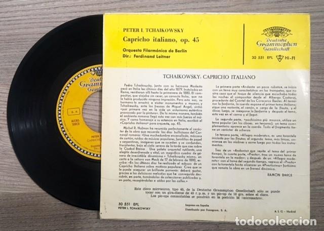 Discos de vinilo: TCHAIKOWSKY - CAPRICHO ITALIANO - FILARMÓNICA DE BERLÍN - - F. LEITNER - 1962 - Foto 2 - 180891866