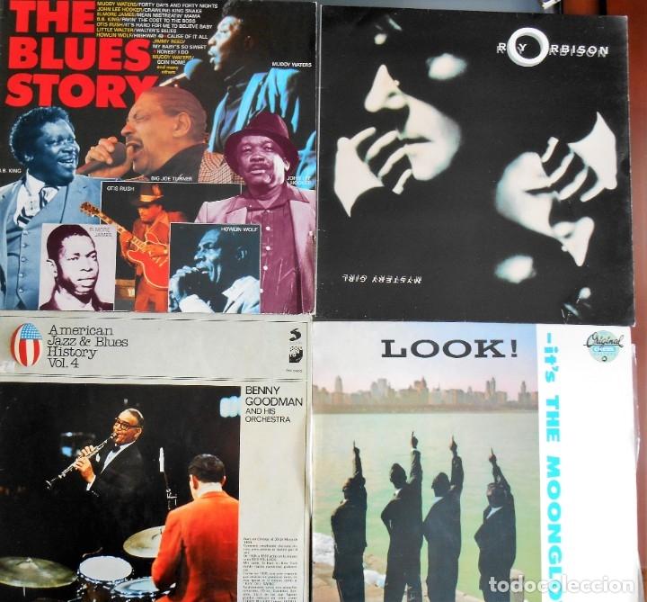 LOTE DE 4 LPS :ROY ORBISON-THE BLUES HISTORY -BENNY GOODMAN -THE MOONGLOWS. (Música - Discos - LP Vinilo - Jazz, Jazz-Rock, Blues y R&B)
