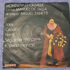 Discos de vinilo: MONTSERRAT CABALLE. CANTA MANUEL DE FALLA.. Lote 180984605