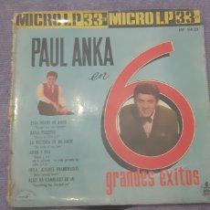 Discos de vinilo: PAUL ANKA. CANTA 6 GRANDES EXITOS. ABC -PARAMOUNNT.. Lote 180985035