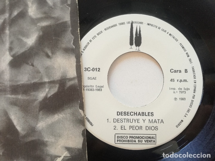 Discos de vinilo: DESECHABLES - La Oracion +2 - EP ORIGINAL 3-CIPRESES PROM0 1983 // KBD PUNK KILLER VULPESS - Foto 2 - 181011328