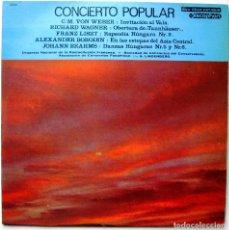 Discos de vinilo: VON WEBER, WAGNER, LISZT, BORODIN, BRAHMS, LINDENBERG - CONCIERTO POPULAR - LP DISCOPHON 1965 BPY. Lote 181145972