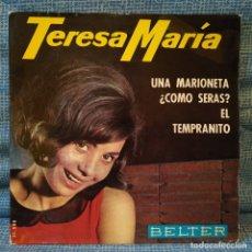 Discos de vinilo: TERESA MARIA (CHICA YE-YE) - UNA MARIONETA + 3 - RARO EP DEL SELLO BELTER DEL AÑO 1965 BUEN ESTADO. Lote 181161521
