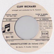 Discos de vinilo: CLIFF RICHARD - CONGRATULATIONS - EUROVISIÓN 1968 - PROMO / VERSIÓN ITALIANA. Lote 181193258