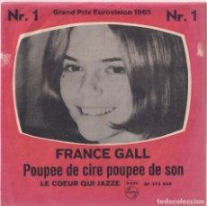 Discos de vinilo: FRANCE GALL - POUPÉE DE CIRE, POUPÉ DE SON - EUROVISIÓN 1965 - MADE IN SWEDEN. Lote 181193372