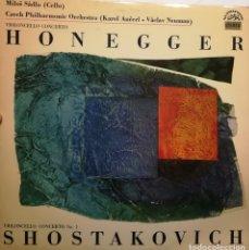 Discos de vinilo: SHOSTAKOVICH CONCIERTO N.1 CELLO Y ORQUESTA. HONEGGER CONCIERTO CELLO. ORQUESTA FILARMONICA CHECA . Lote 181201265
