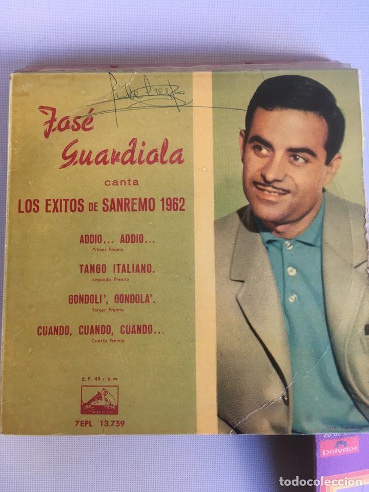 SINGLE - JOSE GUARDIOLA - EXITOS SANREMO 1962 - CUATRO CANCIONES - ED. LA VOZ DE SU AMO - AÑO (Música - Discos de Vinilo - EPs - Solistas Españoles de los 50 y 60)