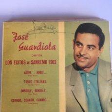 Discos de vinilo: SINGLE - JOSE GUARDIOLA - EXITOS SANREMO 1962 - CUATRO CANCIONES - ED. LA VOZ DE SU AMO - AÑO. Lote 181224617