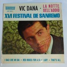 Discos de vinilo: EP ESPAÑOL - VIC DAMONE - XVI SAN REMO - LA NOTTE DELL'ADDIO. Lote 181330925