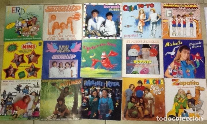 LOTE DE 30 SINGLES MUSICA INFANTIL REGALIZ, LA PANDILLA ,PARCHIS, MONANO Y SU BANDA ,MILIKI ETC (Música - Discos - Singles Vinilo - Música Infantil)
