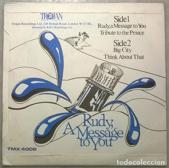 Discos de vinilo: Dandy Livingstone. Rudy, a message to you/ Tribute to the Prince/ Big city/ Think... Trojan. UK 1973 - Foto 2 - 181399653