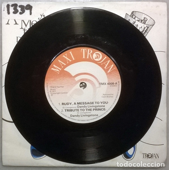 Discos de vinilo: Dandy Livingstone. Rudy, a message to you/ Tribute to the Prince/ Big city/ Think... Trojan. UK 1973 - Foto 3 - 181399653
