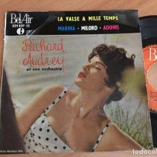 Discos de vinilo: RICHARD AUDREY (PAUL MAURIAT) (LA VALSE A MILLE TEMPS +3) EP FRANCE RARE (EPI02). Lote 181427940