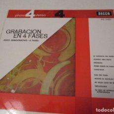 Discos de vinilo: DISCO VINILO. GRABACIÓN EN 4 FASES. DISCO DEMOSTRATIVO 4 FASES. DECCA. Lote 181479827