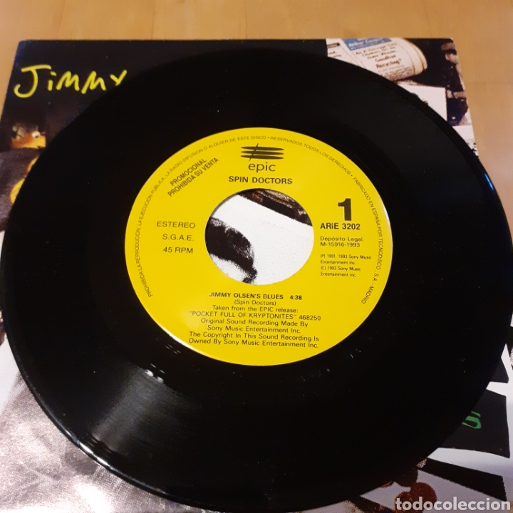 Discos de vinilo: Spin Doctors 45rpm Jimmy Olsens Blues 1993 Sony promo - Foto 3 - 181490111