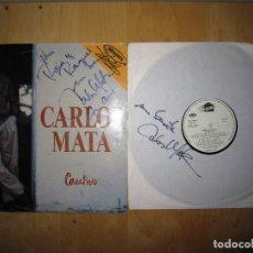 Discos de vinilo: VINILO CARLOS MATA 1990, PROTAGONISTA DE CRISTAL, DOS FIRMAS. Lote 181491803