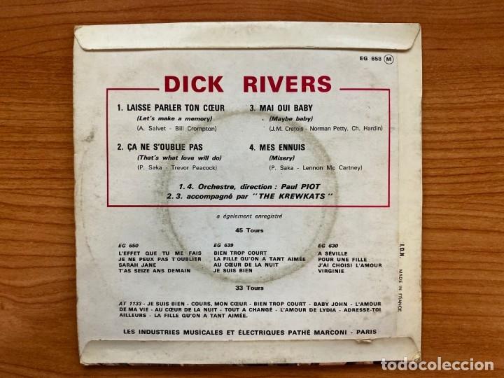 Discos de vinilo: Dick Rivers // Laisse Parler Ton Coeur // EP 7', Edición Francesa 1963 - Foto 2 - 181528270