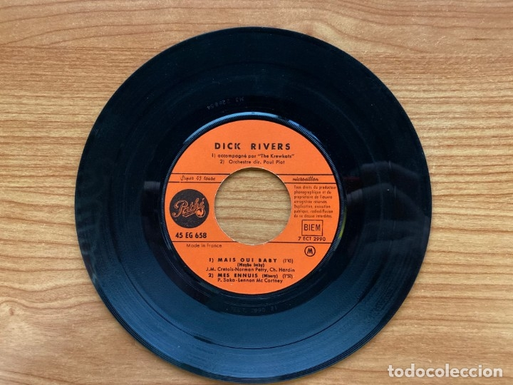Discos de vinilo: Dick Rivers // Laisse Parler Ton Coeur // EP 7', Edición Francesa 1963 - Foto 4 - 181528270