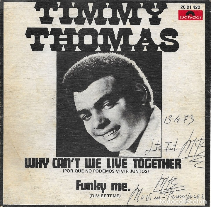 TIMMY THOMAS WHY CAN'T WE LIVE TOGETHER POLYDOR 1973 (Música - Discos - Singles Vinilo - Funk, Soul y Black Music)