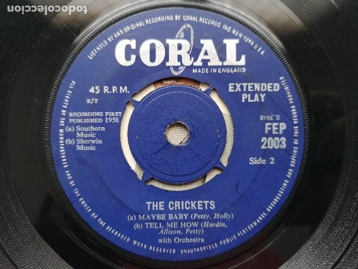 Discos de vinilo: EP BUDDY HOLLY THE SOUND OF CRICKETS 1ª ED INGLESA 1958 FEP 2003 CORAL RECORDS COCHRAN ELVIS VINCENT - Foto 4 - 181545651