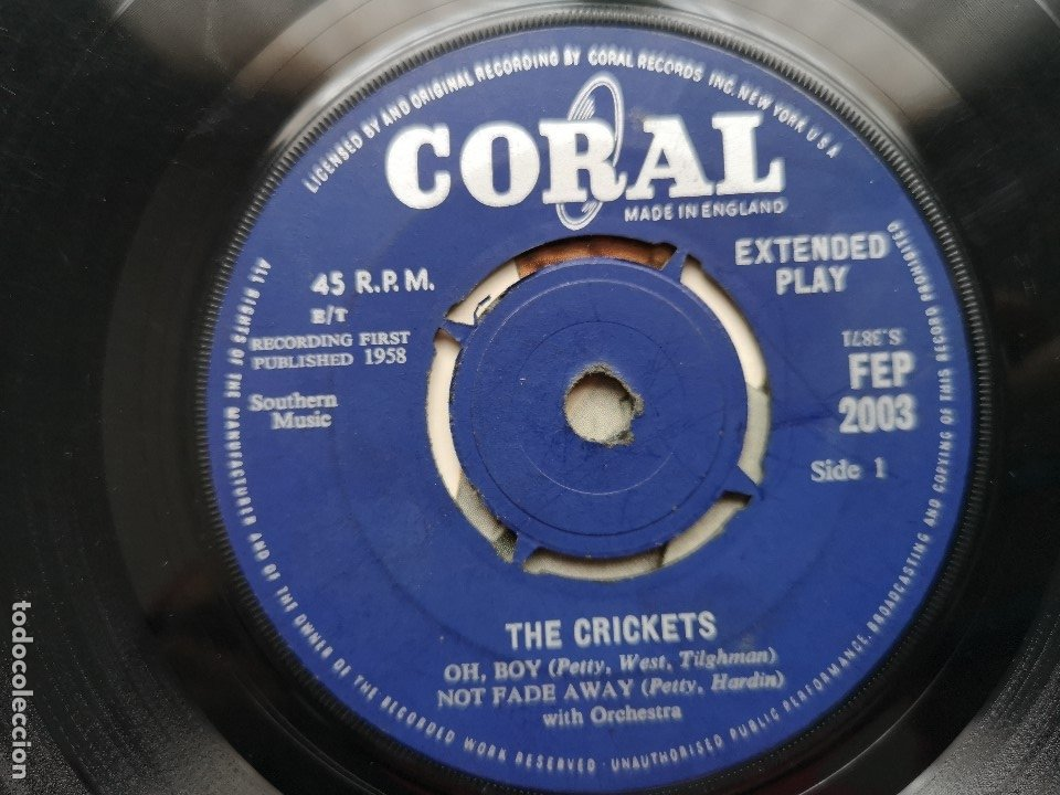 Discos de vinilo: EP BUDDY HOLLY THE SOUND OF CRICKETS 1ª ED INGLESA 1958 FEP 2003 CORAL RECORDS COCHRAN ELVIS VINCENT - Foto 6 - 181545651