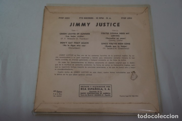 Discos de vinilo: SINGLE - JIMMY JUSTICE / GREEN LEAVES OF SUMMER, DONT SAY THAT AGAIN / PYEP 2054 - Foto 2 - 181605375