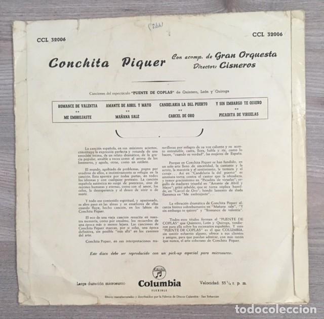 Discos de vinilo: CONCHITA PIQUER - PUENTE DE COPLAS - Foto 2 - 181611950