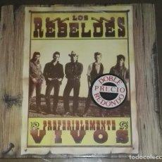 Discos de vinilo: LOS REBELDES PREFERIBLEMENTE VIVOS 2 LP. Lote 194516185