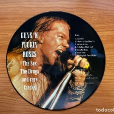 Discos de vinilo: GUNS & ROSES // GUNS 'N FUCKIN ROSES // THE SEX, THE DRUGS AND RARE TRACKS // PICTURE DISC RARO. Lote 181799570