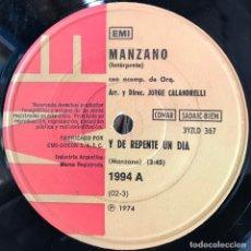 Discos de vinilo: SENCILLO ARGENTINO DE MANZANO AÑO 1974. Lote 71215845