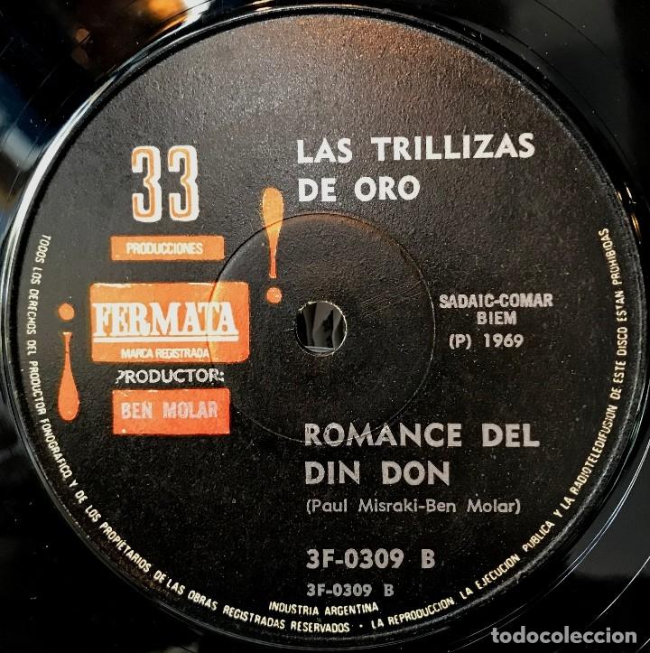 Discos de vinilo: Sencillo argentino de Las Trillizas de Oro año 1969 - Foto 4 - 57278835