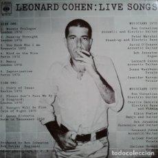 Discos de vinilo: LIVE SONGS - LEONARD COHEN. Lote 181334207