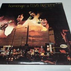 Discos de vinilo: HOMENAJE A ELVIS PRESLEY. LP VINILO ZAFIRO 1975. MUY RARO. INCLUYE ENCARTE CON FOTOS. Lote 182028795